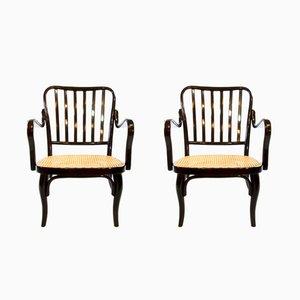 Bauhaus Armlehnstühle Nr. 752 aus Bugholz von Josef Frank für Thonet, 2er Set