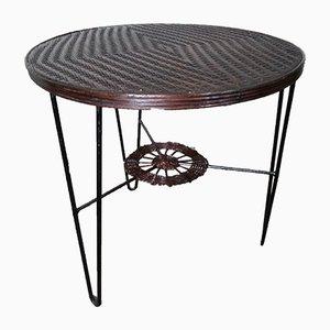 Mesa bistrot francesa de hierro y ratán, años 50