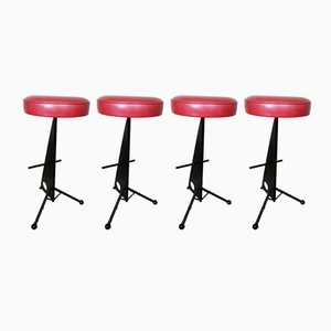 French Iron Bar Stools, 1950s, Set of 4