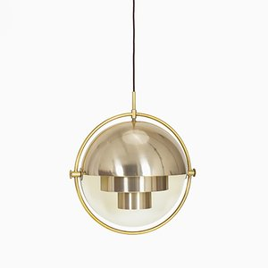 Lampada a sospensione Multi-Lite in ottone di Louis Weisdorf per Lyfa, 1972