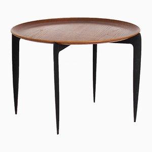 Tavolino rotondo con ripiano rimovibile di H. Engholm & S.A. Willumsen per Fritz Hansen, 1958