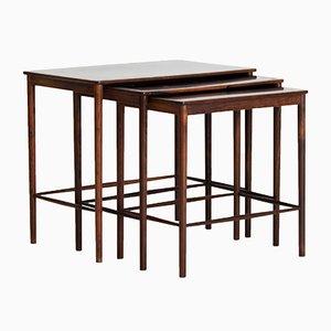 Tavolini a incastro in palissandro di Grete Jalk per Poul Jeppesens Møbelfabrik, anni '60