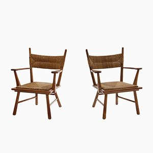 Solid Oak and Straw Armchairs by Bas Van Pelt, 1940s, Set of 2