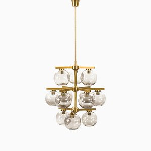 Chandelier with 12 Smoked Glass Shades by Holger Johansson, 1950s