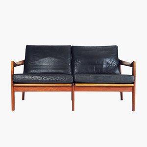 Canapé en Cuir par Illum Wikkelsø pour Niels Eilersen, Danemark, 1960s
