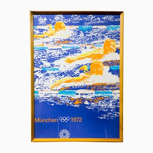 Vintage Munich Summer Olympics Swimming Poster, 1972