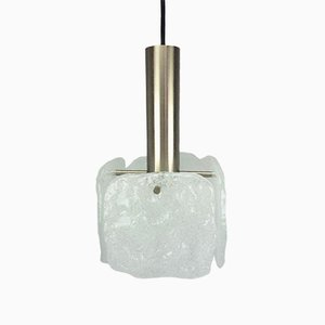 German Ice Glass Ceiling Lamp from Kalmar, 1960s