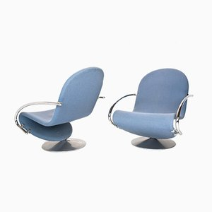 Scandinavian Swivel Chairs by Verner Panton for Fritz Hansen, 1973, Set of 2