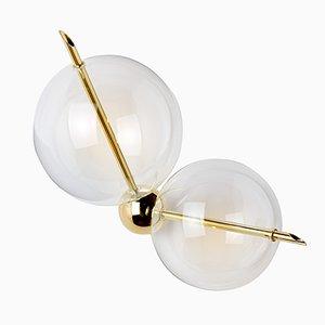 Applique Lune Série Chemistry en Laiton Poli avec 2 Ampoules de SilvioMondinoStudio