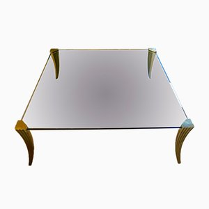 Large Brass & Glass Coffee Table by Peter Ghyzcy, 1970s