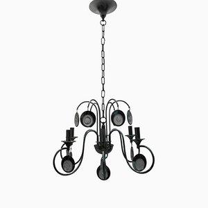 Lámpara de araña de vidrio y metal de Gaetano Sciolari, años 70