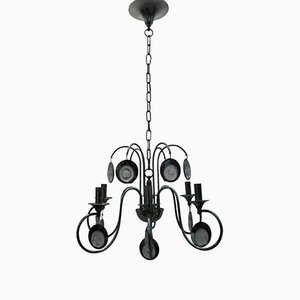 Metal and Glass Chandelier by Gaetano Sciolari, 1970s