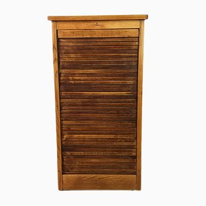 Mid-Century Tambour Door Oak Veneer Cabinet with Drawers