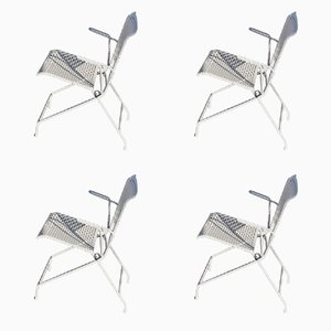 Foldable Metal Garden Chairs, 1950s, Set of 4