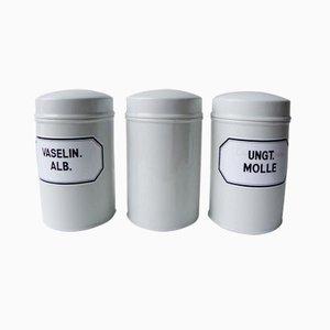 Vasetti da farmacia vintage in porcellana, set di 3
