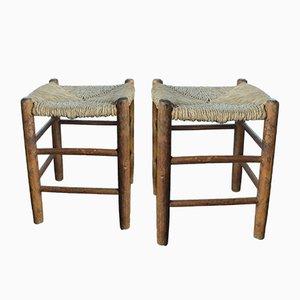 Vintage N°17 Paillé Bauche Hocker mit Sitzen aus Stroh von Charlotte Perriand für L'Equipement de la Maison, 2er Set