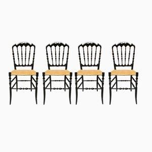 Schwarz Lackierte Vintage Buchenholz Chiavarine Stühle, 1970er, 4er Set