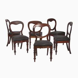 Antique Mahogany Dining Chairs with Leather Seats, Set of 6