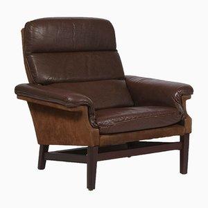 Dänischer Mid-Century Leder und Samt Sessel