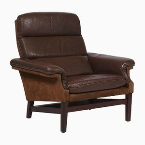 Mid-Century Danish Leather and Suede Lounge Chair