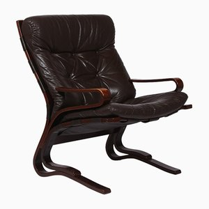 Vintage Brown Leather Lounge Chair, 1970s