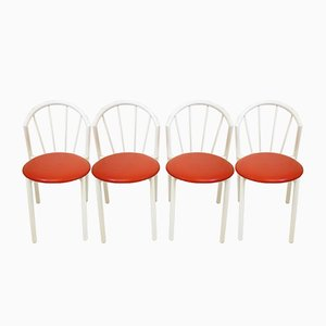 Space Age French White-Lacquered Steel Dining Chairs, 1970s, Set of 4