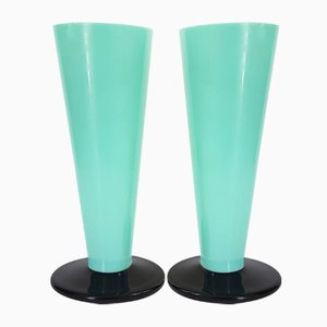 Art Deco Black & Green Opaline Glass Vases, 1920s, Set of 2