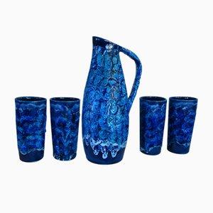 Französischer Keramik Wasserkrug mit Gläsern, 1950er