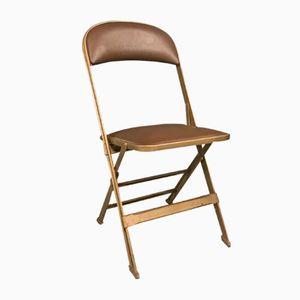 Klappbarer Vintage Stuhl aus Metall und Skai von Clarin