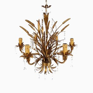 Italian Gilt Metal and Glass Chandelier, 1960s