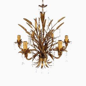 Lámpara de araña italiana en dorado de metal y vidrio, años 60