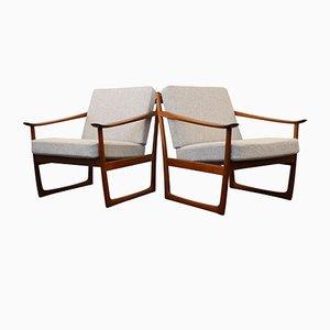 Vintage FD-130 Sessel aus Teakholz von Peter Hvidt & Orla Mølgaard-Nielsen für France & Søn, 2er Set