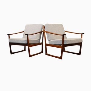 Vintage FD-130 Teak Lounge Chairs by Peter Hvidt & Orla Mølgaard-Nielsen for France & Søn, Set of 2