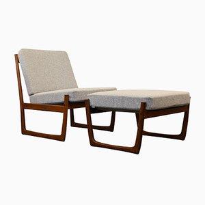 Vintage FD-130 Lounge Chair & Foot Stool by Peter Hvidt & Orla Mølgaard-Nielsen for France & Søn