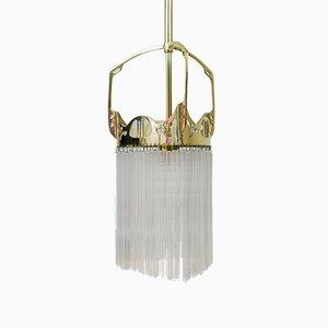 Lampe à Suspension Art Nouveau avec Bâtons de Verre, 1900s
