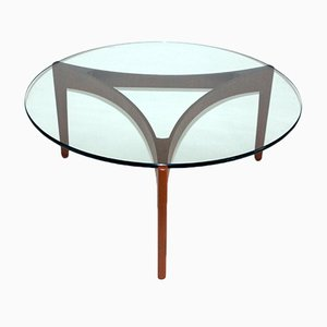 Mid-Century Teak Coffee Table with Glass Top by Sven Ellekaer for Linneberg