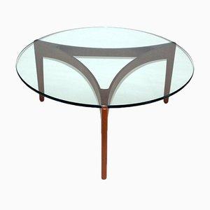 Tavolino da caffè Mid-Century in teak con ripiano in vetro di Sven Ellekaer per Linneberg