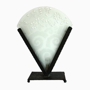 Art Deco Wrought Iron and Glass Table Lamp, 1930s