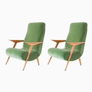 Italian Mid-Century Modern Oak and Green Cotton Velvet Armchairs, 1950s, Set of 2