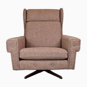 Pink Wool Wingback Swivel Lounge Chair, 1960s
