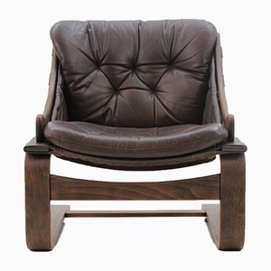 Scandinavian Bentwood Leather Lounge Chair by Ake Fribytter for Nelo Möbel, 1970s