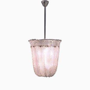 Lampada a sospensione in vetro di Murano rosa di Venini, anni '40