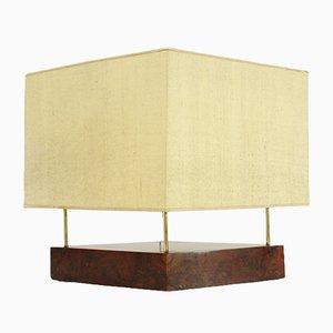 Lámpara italiana modernista de latón y madera de brezo, años 30
