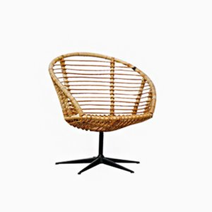 Vintage Rattan Swivel Chair, 1950s