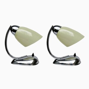 Mid-Century Czech Chrome Bedside Lamps from Napako, 1940s, Set of 2