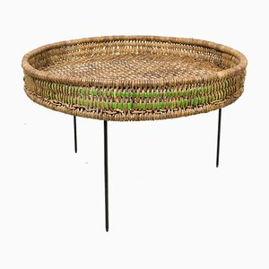 Round Side Table in Rattan with Metal Wire Legs, 1950s