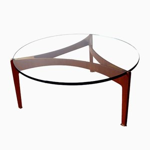 Danish Teak Coffee Table with Thick Glass Top by Sven Ellekaer for Christian Linneberg, 1960s