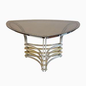 Italienischer Tisch aus Rauchglas und Chrom, 1970er