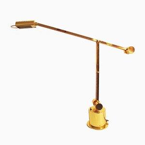 Lámpara de escritorio de banquero ajustable dorada, años 80