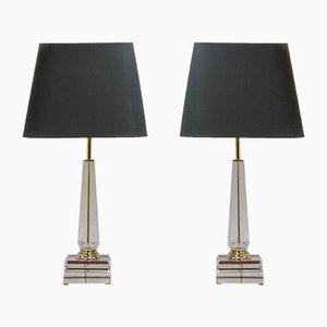 Lámparas de mesa Hollywood Regency con columna de acrílico, 1972. Juego de 2